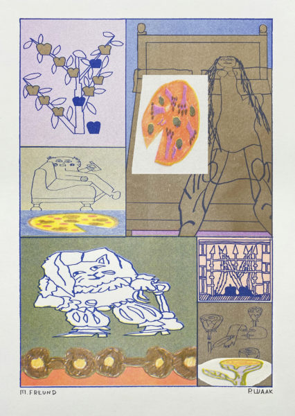 """""""long distance love"""" A3 riso poster with Max Freund 25€"""